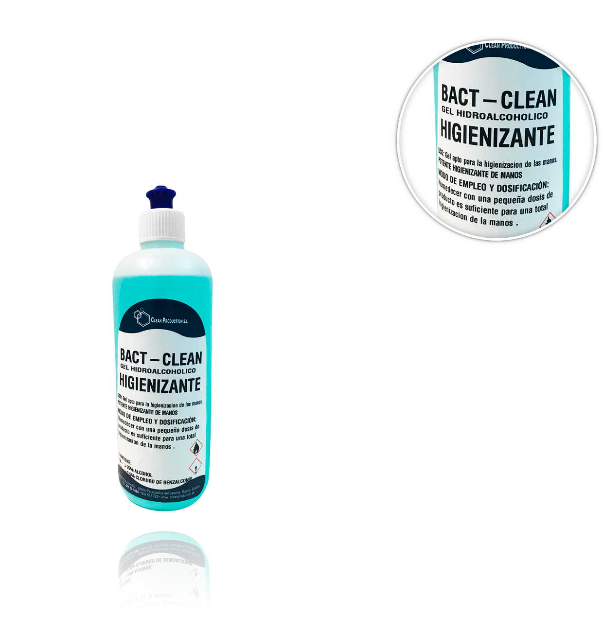 GEL HIDROALCOHOLICO 500ml  70%  PARA MANOS BACT CLEAN HIGIENIZANTE