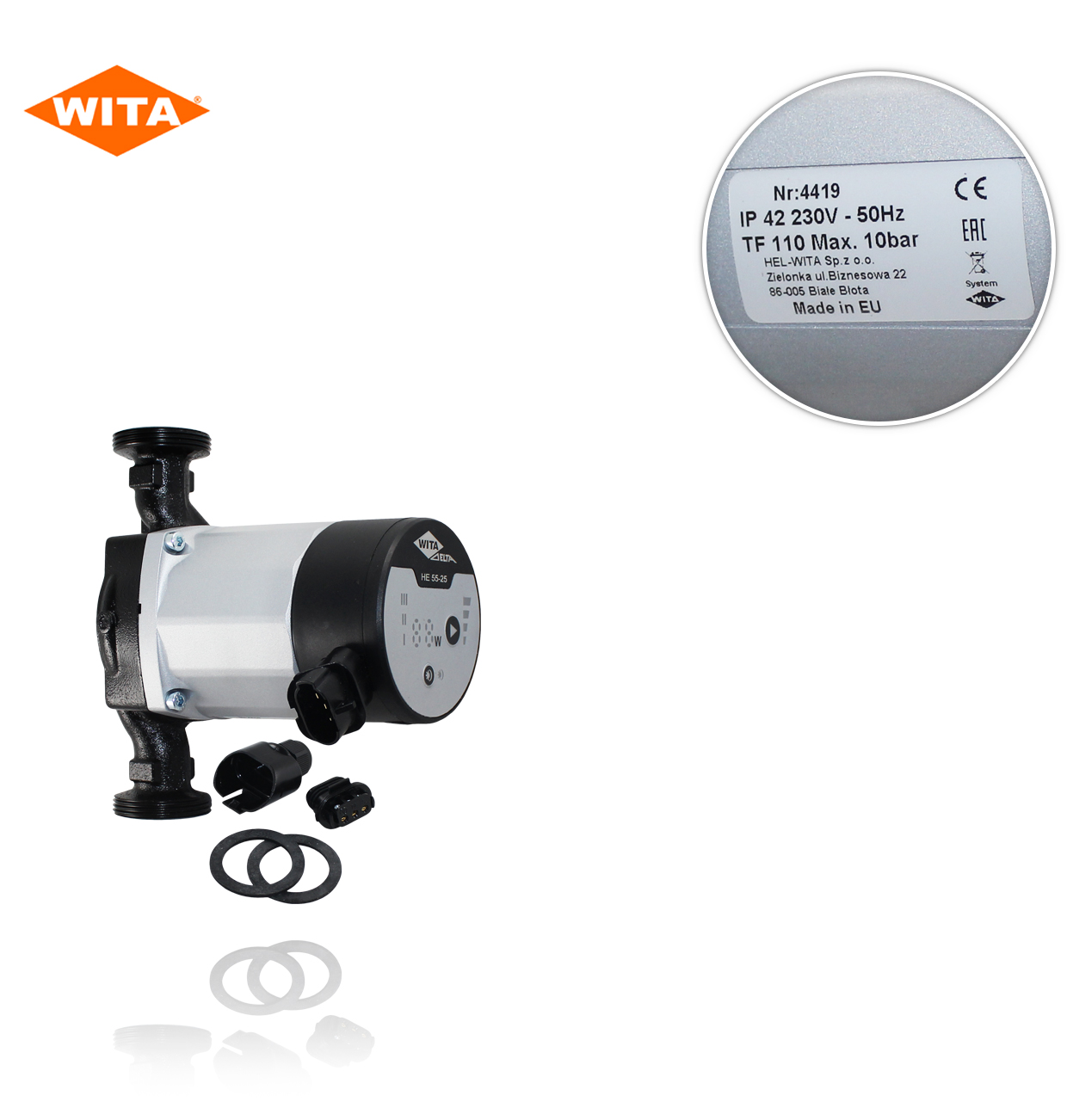 "HE 55-25       LED   1.1/2 ""   180mm.  230V  BOMBA DE ALTA EFICIENCIA WITA"