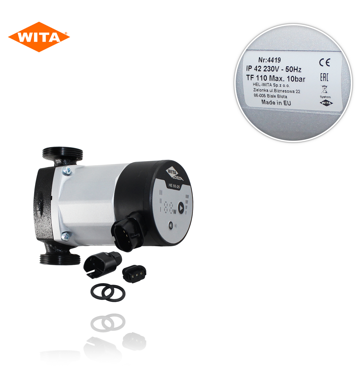 "HE 55-25 S    LED   1.1/2 ""   130mm.  230V  BOMBA DE ALTA EFICIENCIA WITA"