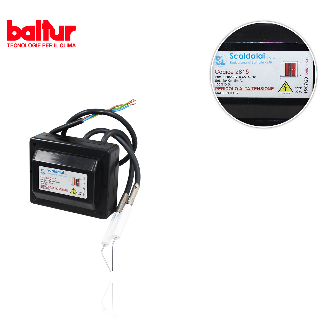 TRANSFORMADOR RE 8KV 20MA 230V/50Hz. BALTUR 50034